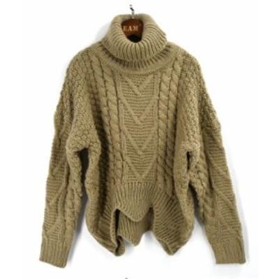 ニットセーター タートルネック 長袖 無地 ゆったり あったか ボリューム 防寒 大人可愛い 秋冬