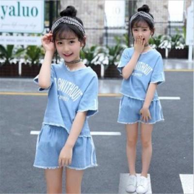 2018 韓国子供服 夏着 半袖 上下セット デニムトップス デニムパンツ セットアップ 半袖 女の子 2点セット Tシャツ +パンツ セットアッ