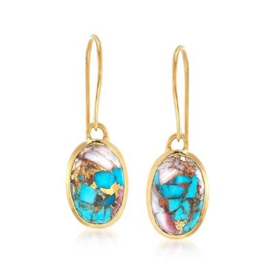 Ross-Simons Oval Kingman Turquoise Drop Earrings in 18kt Gold Over Ste