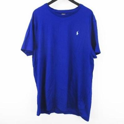 【中古】ポロ ラルフローレン POLO RALPH LAUREN 半袖 カットソー Tシャツ XL ブルー 青系 ロゴ 刺繍 綿 コットン
