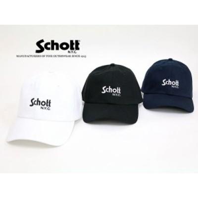 送料無料 Schott ローキャップ ツイルキャップ ベースボールキャップ 帽子 キャップ メンズ レディース シンプル キレイめ ロゴ スポーツ