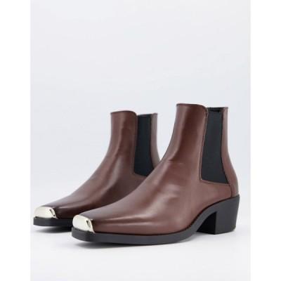 エイソス ASOS DESIGN メンズ ブーツ cuban heel western chelsea boot in brown faux leather with square toe with metal cap