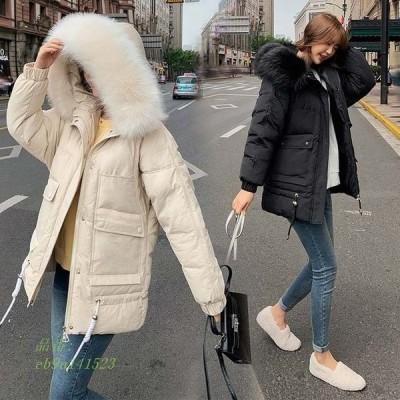 フード付き 中綿コート レディース 30代 冬アウター ファー 20代 ミディアム丈 防寒コート 冬コート 暖かい 無地 厚手 ダウンコート 毛皮