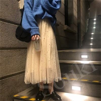 レディースファッション スカート 2色  Aライン ★星柄 ロング チュール ハイウエストゴム  春夏 ティアード