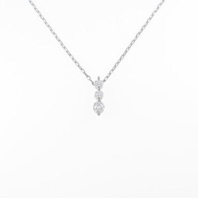 【中古品】PT スリーストーン ダイヤモンドネックレス