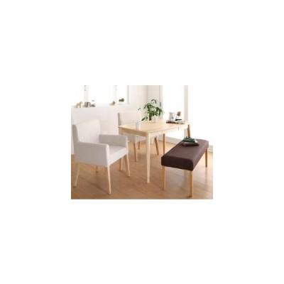 天然木 アッシュ材 ゆったり座れる ダイニング eat with. イートウィズ 4点セット(テーブル+チェア2脚+ベンチ1脚) W115