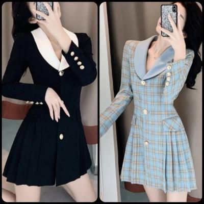 エレガント系 ワンピースドレス 無地・チェック柄 プリーツ 長袖 スーツ風 ミニ丈 こなれ感 春 お出かけ