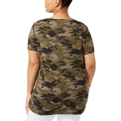 FREEZE Womens Juniors Camouflage Casual Slogan T-Shirt Green 1X