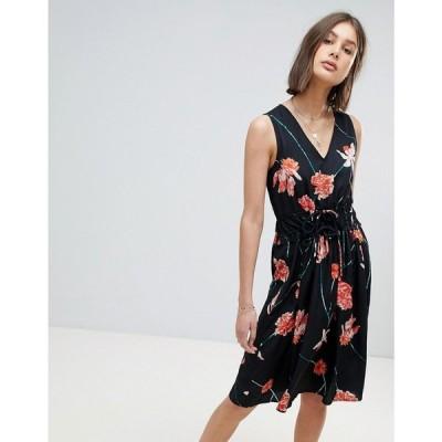 ヴェロモーダ レディース ワンピース ワンピース・ドレス Vero Moda Floral Waist Tie Midi Dress Oversize floral
