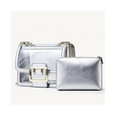 透明バッグ 夏バッグ 同色ポーチ付きショルダーバッグ クリアバッグ ゴールドチェーン ゴールドバックル 長さ2WAY 上品 トレンド