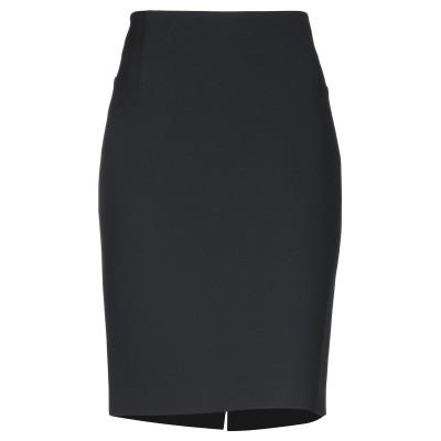 OVERLAPPING ひざ丈スカート ブラック 46 ポリエステル 64% / レーヨン 27% / コットン 6% / ポリウレタン 3% ひざ