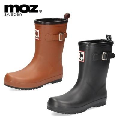 moz モズ 長靴 レディース おしゃれ 防水 撥水 8418 レインブーツ ハーフ丈 歩きやすい サイドベルト 防滑 完全防水