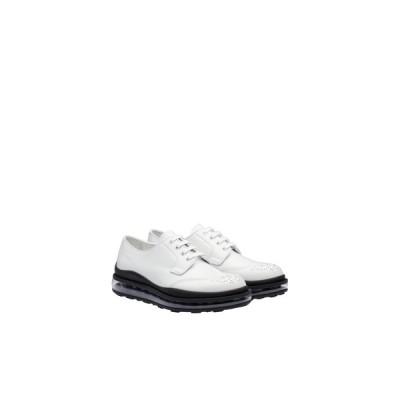 プラダ PRADA レースアップ シューズ 靴 ホワイト ブラッシュドカーフレザー