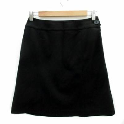 【中古】ナチュラルビューティーベーシック スカート 台形 ひざ丈 無地 L 黒 ブラック レディース