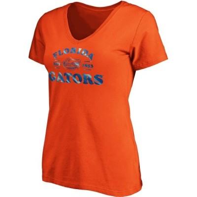ブイエフイメージウェア Tシャツ トップス レディース University of Florida Women's Line Up Complete Athlete V-neck Graphic T-shirt Orange Dark 01