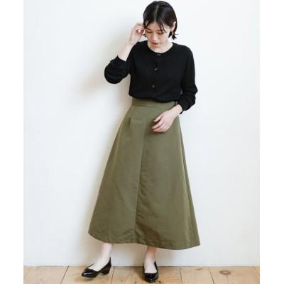 【ハコ】 大人の七難隠してくれそうなきれいシルエットのフレアースカート by que made me レディース カーキ L haco!