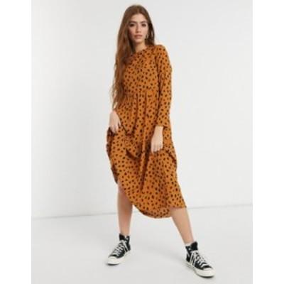 エイソス レディース ワンピース トップス ASOS DESIGN long sleeve tiered smock midi dress in animal print Animal print
