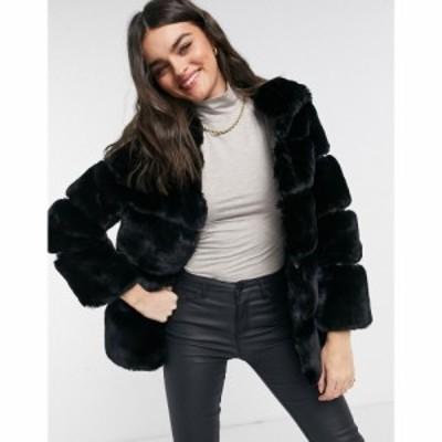リバーアイランド River Island レディース コート ファーコート フード アウター Hooded Faux Fur Coat In Black ブラック