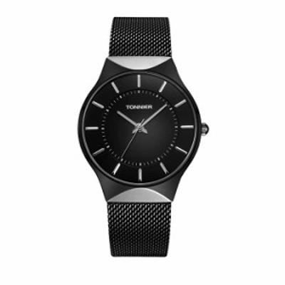 腕時計  Tonnier Mens Watchブラック& Goldenステンレススチール超薄型メッシュストラップWatch for Men ブラック