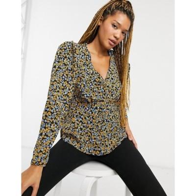 ニュールック レディース シャツ トップス New Look tea blouse in black disty print