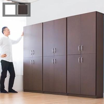 壁面収納 幅90cm 扉収納 扉付き本棚 ブラウン/ホワイト 木製 キャビネット シンプル シェルフ9018 高さ180cm 木製4ドア 大容量 白 事務用