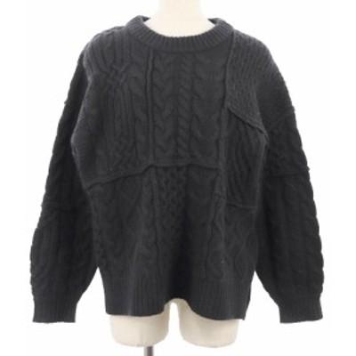 【中古】クラネ アーバンリサーチ取扱 セーター ニット クルーネック 長袖 ケーブル オーバーサイズ 1 黒 レディース