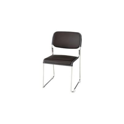 ジョインテックス 会議椅子(スタッキングチェア/ミーティングチェア) 肘なし 座面:合成皮革(合皮) FRK-S2LN BR ブラウン 〔完成品〕