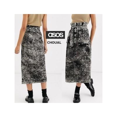 レディース ひざ丈 ASOS Dリングとポケットミディスカート