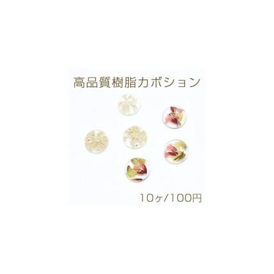 高品質樹脂カボション ドライフラワー封入 半円 12mm【10ヶ】