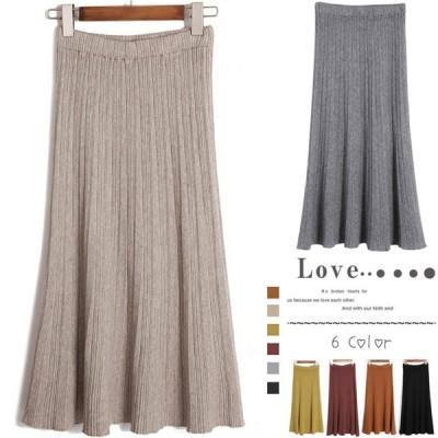 送料無料マイクロプリーツ ニット フレアスカート [レディース] ドレス スウェット 長袖  大きいサイズ リュッ