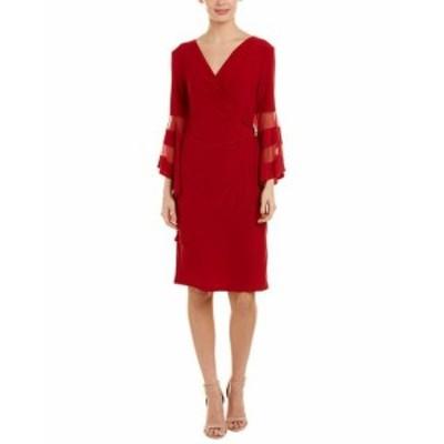 Red  ファッション ドレス R&M Richards Faux Wrap Dress 6 Red