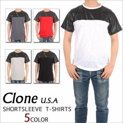 CLONE U.S.A. 半袖Tシャツ 切り替えTシャツ カットソー メンズ アメカジ  モードストリート WCSP U.S.A. ダンス 衣装 HIPHOP  ストリート系 レディース