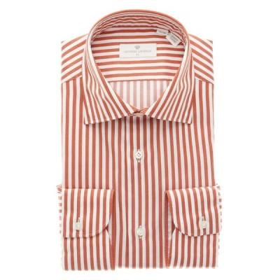 ドレスシャツ/長袖/メンズ/ANTONIO LAVERDA/Easy Care/ワイドカラードレスシャツ ロンドンストライプ オレンジ