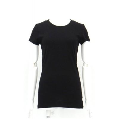 Tシャツ カットソー 綿 コットン 無地 丸首 半袖 黒 インナー S M サイズ