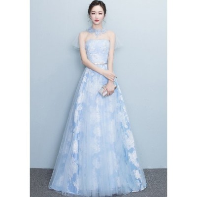 ロングドレス 結婚式 大きいサイズ パーティードレス パーティドレス ワンピース ドレス ウェディングドレス  ドレス[水色]