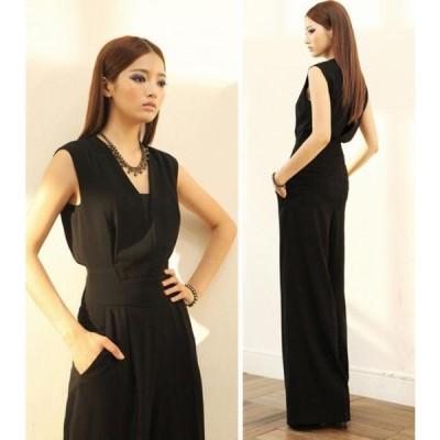 レディース パンツドレス 大きいサイズ  ワイドパンツ ガウチョパンツ  ハイウエスト ノースリーブ 結婚式 X0047
