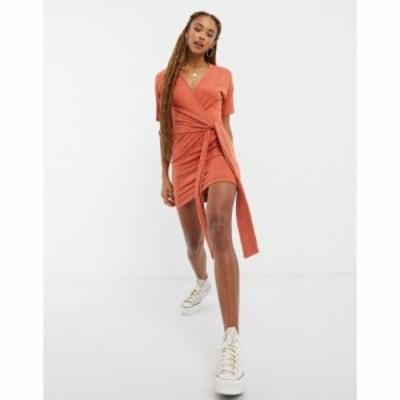 エイソス ASOS DESIGN レディース ワンピース ラップドレス ワンピース・ドレス Super Soft Short Sleeve Mini Wrap Dress Marl ジンジャ