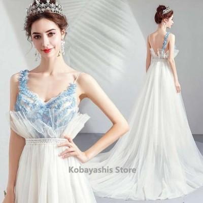 ホワイトドレス結婚式花嫁ウェディングドレスキャミ水色+白キレイめ背開きセクシーブライダルドレス披露宴二次会撮影