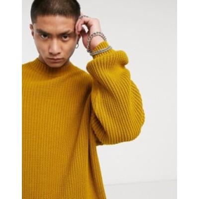 エイソス メンズ ニット・セーター アウター ASOS DESIGN knitted oversized rib turtleneck sweater in mustard Mustard