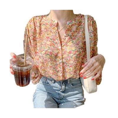Amisi シフォンシャツ 長袖 トップ 秋冬春 レディース 開襟ボタン シャツ 花柄 ゆったり 透け感 韓国スタイル 新