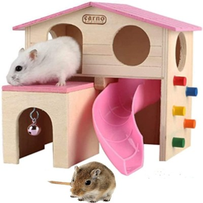 Bluestarz13923 ハムスターハウス 木製 2階建て 天然木 プレイハウス ペット スライド式 小屋 小動物の隠れ家 遊び場 小さな動物 滑