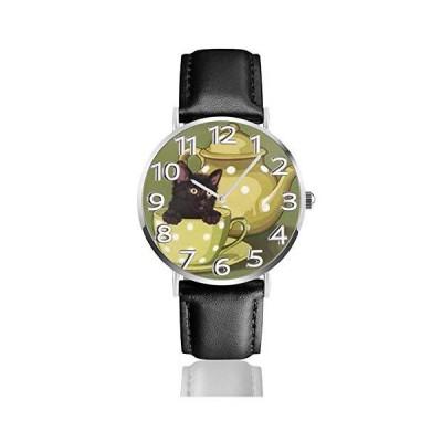 腕時計 黒猫茶 ウオッチ クラシック カジュアル 防水 クォーツムーブメント レザー ベルトビジネス オフィス ?