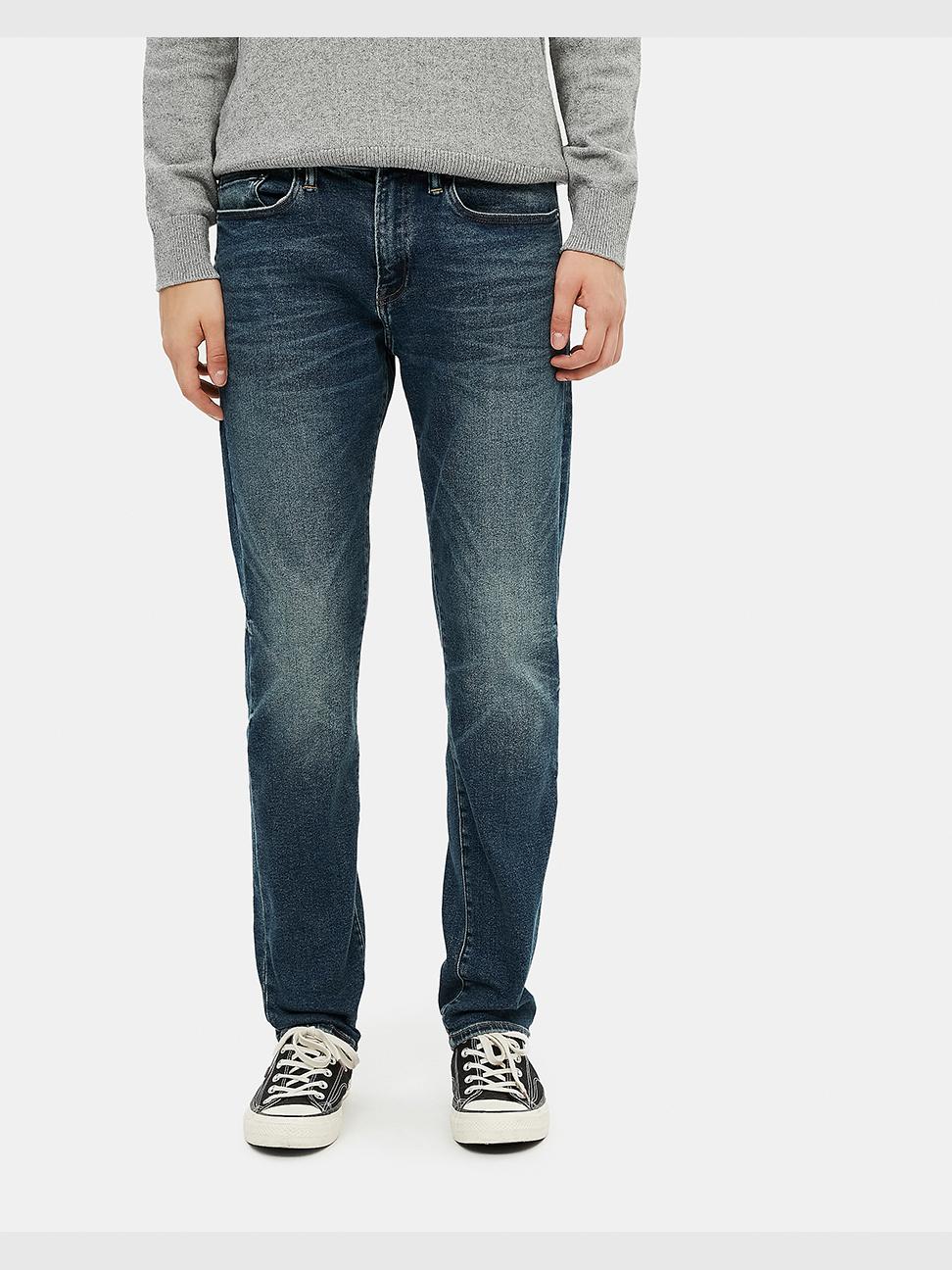 男裝 時尚中腰貓須紋五袋牛仔褲