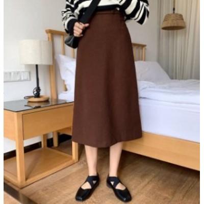 韓国 ファッション レディース スカート ロング ミモレ丈 ハイウエスト フレア スリット 大きいサイズ ゆったり 無地 シンプル 通勤