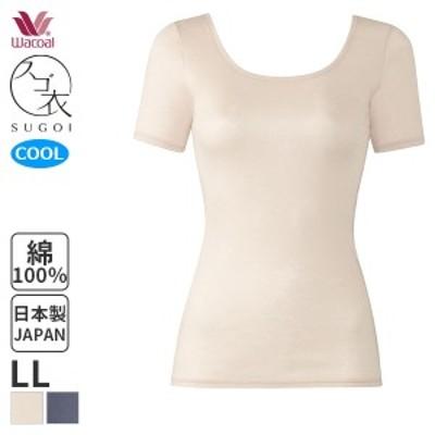 【A】22%OFF ワコール スゴ衣 天然素材プラス 肌さらさら Uネック 3分袖インナー(LLサイズ)CLC270 [m_a]