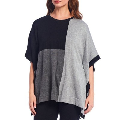 カルバンクライン レディース カットソー トップス Fine Gauge Knit Colorblock Poncho Top Black/Heather Granite/Heather Charcoal