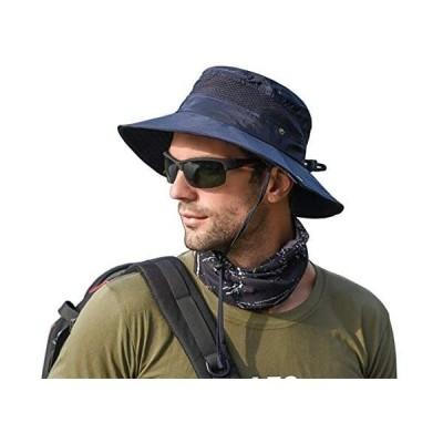 サファリハット メンズ レディース 帽子 つば広 大きいサイズ UVカット 軽薄 通気メッシュ 折りたたみ (ネイビー Free Size)