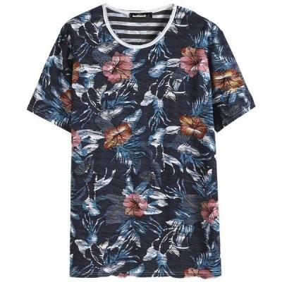 メンズ カットソー 半袖Tシャツ 総柄 花 ボーダー クールネック プリント 綿100%