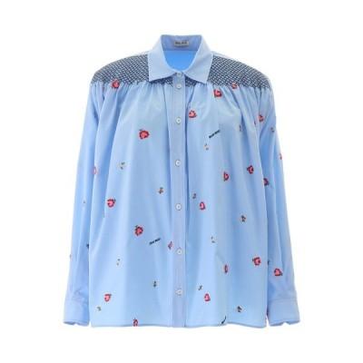 ミュウミュウ レディース カットソー トップス Miu Miu Logo Floral Embroidered Shirt -