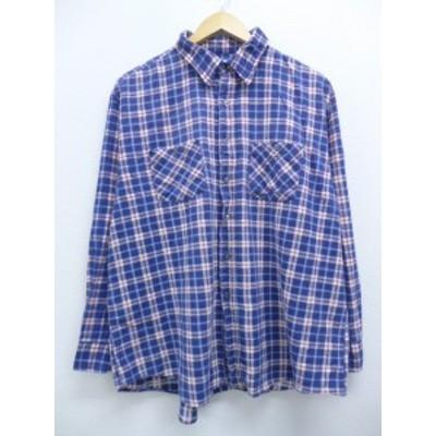 古着 長袖 フランネル シャツ 80年代 コットン 大きいサイズ USA製 紺他 ネイビー タータンチェック XLサイズ 中古 メンズ トップス シャ